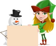 Female Christmas Elf Cartoon Vector Character - With Blank Sign on Christmas Theme