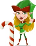 Female Christmas Elf Cartoon Vector Character - With Candy Cane