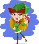 Female Christmas Elf Cartoon Vector Character - With Christmas Candy Illustration