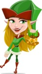 Female Christmas Elf Cartoon Vector Character - With Christmas Decoration - Christmas Bells