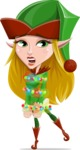 Female Christmas Elf Cartoon Vector Character - With Christmas Lights