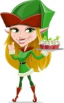 Female Christmas Elf Cartoon Vector Character - With Christmas Muffins