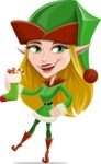 Female Christmas Elf Cartoon Vector Character - With Christmas Sock