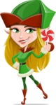 Female Christmas Elf Cartoon Vector Character - With Christmas Sweet - Lollipop