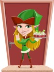 Female Christmas Elf Cartoon Vector Character - With Christmas Sweets Illustration