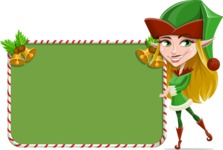 Female Christmas Elf Cartoon Vector Character - With Cool Christmas Board