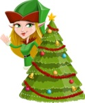 Female Christmas Elf Cartoon Vector Character - With Cool Christmas Tree