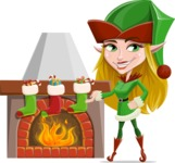 Female Christmas Elf Cartoon Vector Character - With Decorated Fireplace