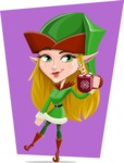 Female Christmas Elf Cartoon Vector Character - With Flat Background Illustration