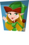 Female Christmas Elf Cartoon Vector Character - With Flat Shape Background