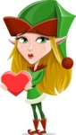 Female Christmas Elf Cartoon Vector Character - With Love Heart