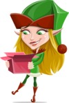 Female Christmas Elf Cartoon Vector Character - With Open Christmas Present