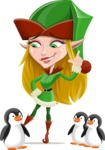 Female Christmas Elf Cartoon Vector Character - With Penguins