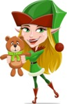 Female Christmas Elf Cartoon Vector Character - With Plush Bear Gift