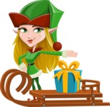 Female Christmas Elf Cartoon Vector Character - With Present on a Sleigh