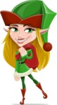 Female Christmas Elf Cartoon Vector Character - With Sack full of Christmas Presents
