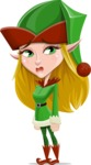 Female Christmas Elf Cartoon Vector Character - With Sad Face