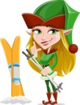 Female Christmas Elf Cartoon Vector Character - With Ski