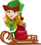 Female Christmas Elf Cartoon Vector Character - With Sleigh and Sack with Gifts