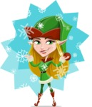 Female Christmas Elf Cartoon Vector Character - With Snowing Illustration
