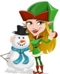 Female Christmas Elf Cartoon Vector Character - With Snowman