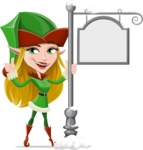 Female Christmas Elf Cartoon Vector Character - With Steet Sign