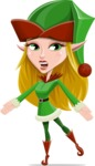 Female Christmas Elf Cartoon Vector Character - With Stunned Face