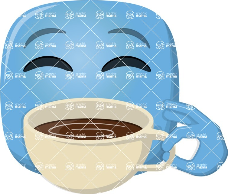 Vector Emoji Creator - The Coffee Lover Emoji