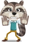 Raccoon Cartoon Vector Character AKA Mr. Coon - Stop