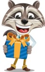Raccoon Cartoon Vector Character AKA Mr. Coon - Gift