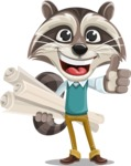 Raccoon Cartoon Vector Character AKA Mr. Coon - Plans