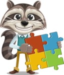 Raccoon Cartoon Vector Character AKA Mr. Coon - Puzzle