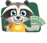 Baby Raccoon Cartoon Vector Character AKA Roony - Shape 3