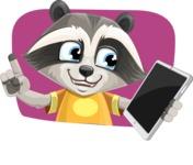 Baby Raccoon Cartoon Vector Character AKA Roony - Shape 4
