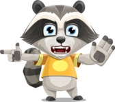 Baby Raccoon Cartoon Vector Character AKA Roony - Direct Attention
