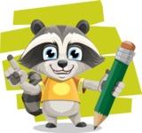 Baby Raccoon Cartoon Vector Character AKA Roony - Shape 10