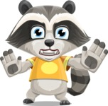 Baby Raccoon Cartoon Vector Character AKA Roony - Stop