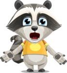 Baby Raccoon Cartoon Vector Character AKA Roony - Stunned