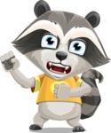 Baby Raccoon Cartoon Vector Character AKA Roony - Angry