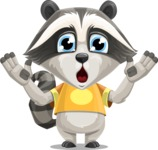 Baby Raccoon Cartoon Vector Character AKA Roony - Shocked