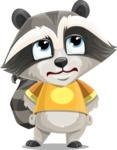 Baby Raccoon Cartoon Vector Character AKA Roony - Roll Eyes