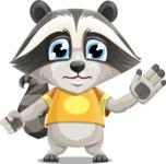 Baby Raccoon Cartoon Vector Character AKA Roony - Goodbye