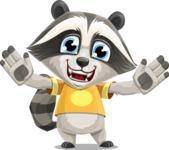 Baby Raccoon Cartoon Vector Character AKA Roony - Hello