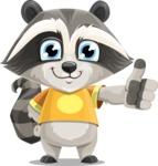 Baby Raccoon Cartoon Vector Character AKA Roony - Thumbs Up