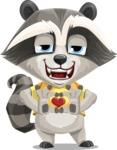 Baby Raccoon Cartoon Vector Character AKA Roony - Show Love