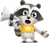 Baby Raccoon Cartoon Vector Character AKA Roony - Loudspeaker