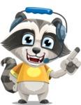 Baby Raccoon Cartoon Vector Character AKA Roony - Support 2