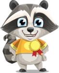Baby Raccoon Cartoon Vector Character AKA Roony - Ribbon