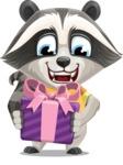 Baby Raccoon Cartoon Vector Character AKA Roony - Gift