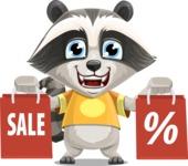 Baby Raccoon Cartoon Vector Character AKA Roony - Sale 2